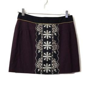 Floreat Plum Purple Black Floral Embroidered Skirt